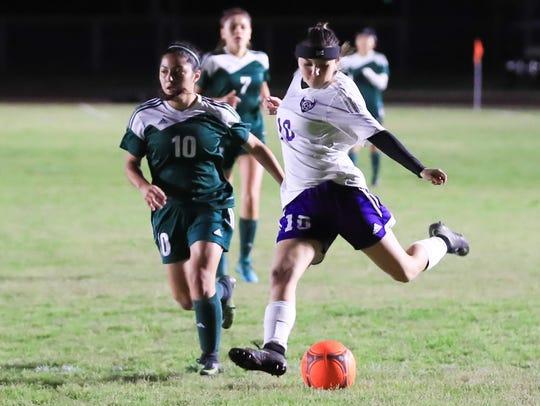 Mission Oak's Zoie Enriquez scores against Hoover in