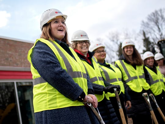 East Lansing Public Schools Superintendent Dori Leyko speaks during a ground breaking ceremony on Monday, April 9, 2018, at Red Cedar Elementary School in East Lansing. The school is the first of six planned elementary school construction projects funded by last year's successful $93.7 million bond campaign.