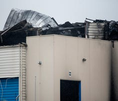 Damage to the roof from a fire at the Meridian Magnesium plant can be seen on Thursday, May 3, 2018, in Eaton Rapids.