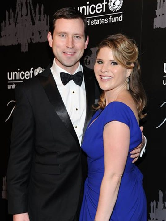 FILE - In this Dec. 3, 2013, file photo, UNICEF Next Generation member Jenna Bush Hager, right, and husband Henry Hager attend the ninth annual UNICEF Snowflake Ball at Cipriani Wall in New York.