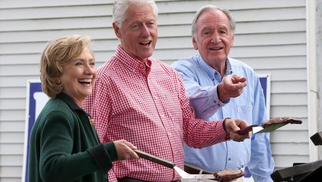 Hillary and Bill Clinton were guests at Sen. Tom Harkin's final Harkin Steak Fry on Sept. 14, 2014, in Indianola, Iowa.