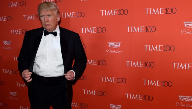 Donald Trump arrives for the Time 100 party in New York on April 26, 2016.
