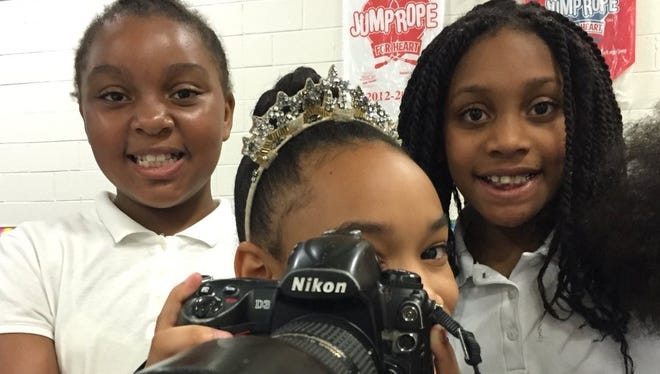 Students at Winslow School No. 4 were cub reporters for the day, learning how to shoot video and ask questions for their own video coverage of the fourth annual College and Career Fair.