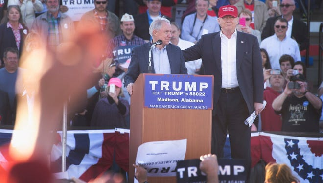 Sen. Jeff Sessions and Donald Trump campaign in Madison, Ala., in February 2016.