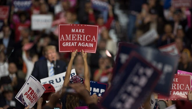 Donald Trump supporter during a campaign stop at the International Exposition Center on Oct. 22, 2016 in Cleveland.