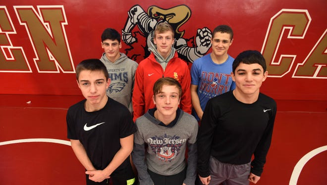 The six Bergen Catholic wrestlers who placed at the Beast of the East this weekend. Front: Nick Kayal, Robert Howard, Carmen Ferrante, Back: Gerard Angelo, Shane Griffith and Chris Foca.