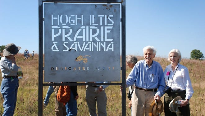 Hugh Iltis and Sharon Wisniewski at the dedication of the High Iltis Prairie and Savanna, north of Westfield, WI, 2007.