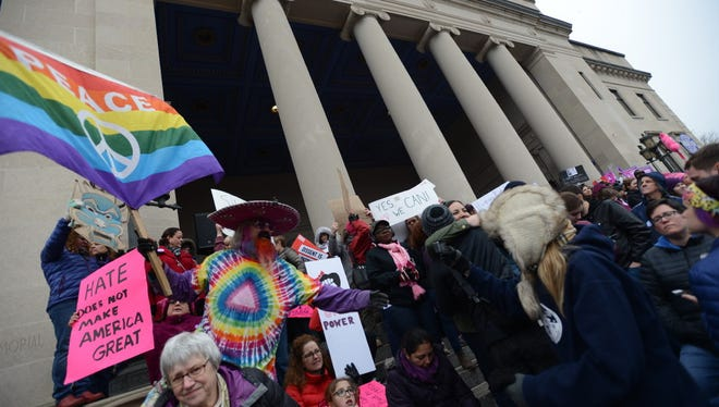 People march down the streets of Trenton, NJ on Saturday, Jan. 21, 2017 for the Women's March on New Jersey to rally in solidarity with marchers in at the Women's March on Washington and at the over 150 sister marches being held across the United States and the world.