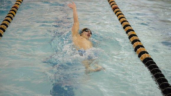 Bergen Catholic's Ian Liu swims backstroke in the 200-yard