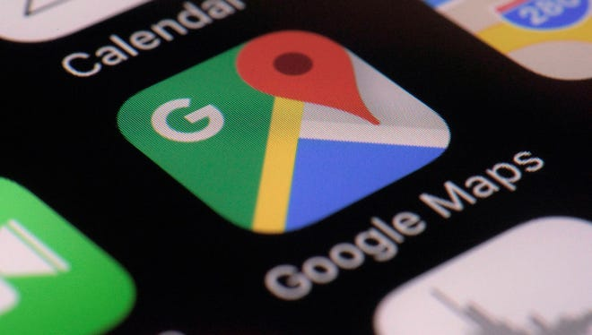 This Wednesday, March 22, 2017, photo shows the Google Maps app on a smartphone, in New York. Google is enabling users of its digital mapping service to allow their movements to be tracked by friends and family in the latest test of how much privacy people are willing to sacrifice in an era of rampant sharing. The location-monitoring feature will begin rolling out Wednesday in an update to the Google Maps mobile app that's already on most of the world's smartphones. It will also be available on personal computers.