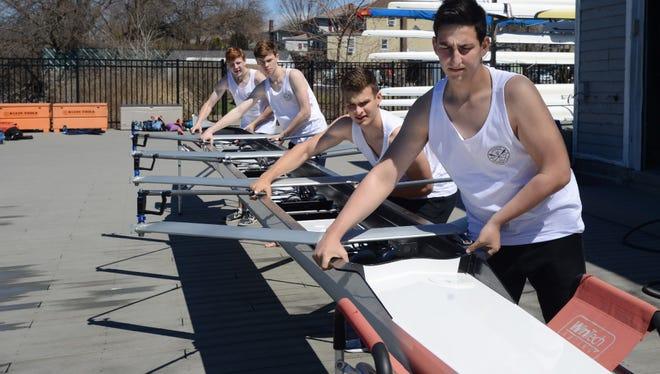 Members of the Nereid Junior Rowing Team last week at their Rutherford boat house.