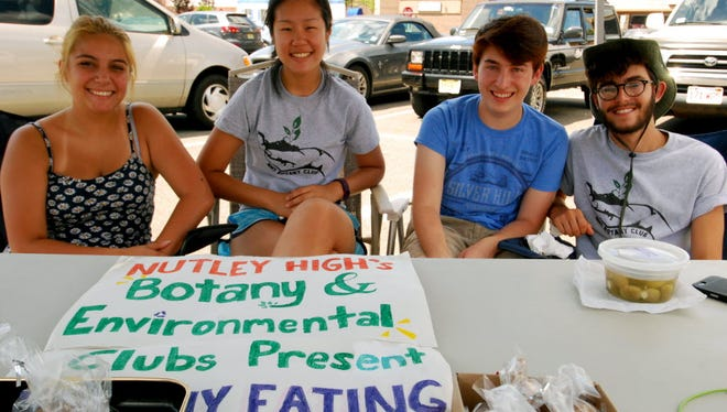 Nutley High School Botany and Environmental Club members, from left,  Cassidy Reidy, Averill Wong, John O'Brien and Anthony Salimbene,  participate at the Nutley Farmers Market in 2016.