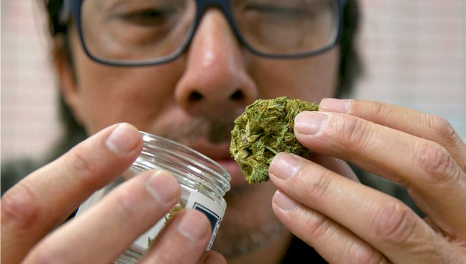Joseph Hough, an employee at the Canna Care medical marijuana dispensary, displays a pre-packaged marijuana bud Wednesday, June 14, 2017, in Sacramento, Calif.