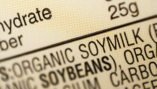 "This Thursday, Feb. 16, 2017, file photo shows the ingredients label for soy milk at a grocery store in New York. The dairy industry says terms like ""soy milk"" violate the federal standard for milk, but even government agencies have internally clashed over the proper term."
