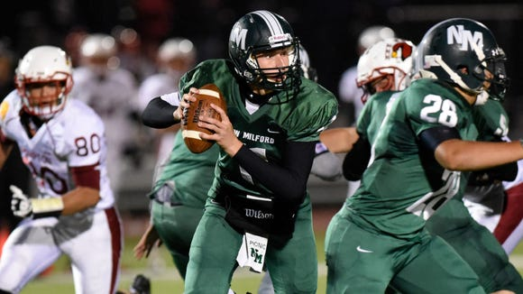 New Milford QB Ryan Picinic and the Knights will play Rutherford Friday night in the NJIC semifinals.