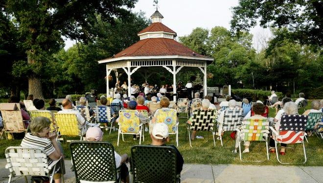 The Newtonburg Brass Bandis performing at Gazebo Park in downtown Greendale June 30.