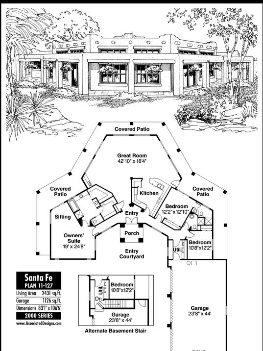 Santa fe house plan for Santa fe floor plans