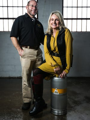 Jeffrey Cheskin and Terri Sorantino, founders of Liquid Alchemy Beverages, are seen in thee future home of their meadery near Elsmere. The pair hope to have the state's first meadery up and running close to Valentine's Day.