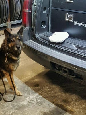 Richmond Police Department Officer Jeff Glover stopped a vehicle that contained 1 kilogram of cocaine. Henry County Sheriff's Department K-9 Cain alerted to the cocaine during an external sniff of the vehicle.
