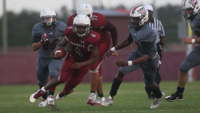 Madison County running back Vinsonta Allen. Wakulla vs. Madison County, spring football game, Thursday, May 17, 2018.