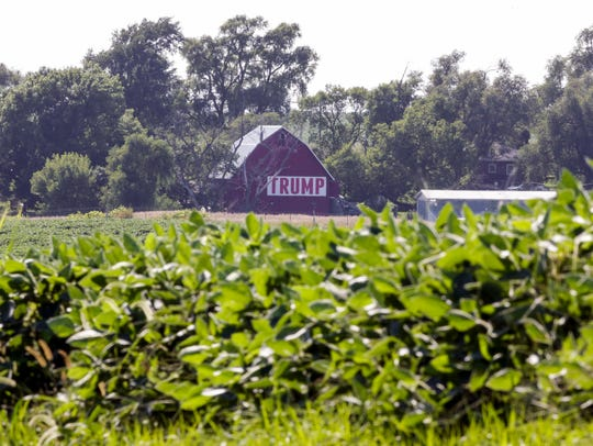 A field of soybeans is seen in front of a barn carrying