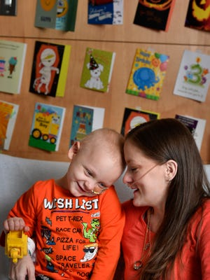 Isaiah Davis has leukemia and his mother Jessica Brandon has cystic fibrosis. He turns 3 on Sunday at the children's hospital and she just wants people to send cards, because he loves to open cards and already has quite a few around his hospital room.Monday Oct. 16, 2017, in Nashville, TN