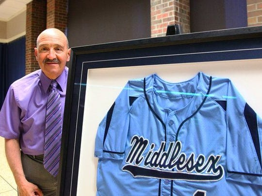 Mike Lepore Sr. had his jersey (No. 1 ) retired at Middlesex County College