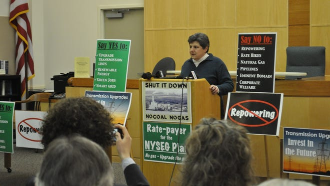 Irene Weiser, Community intervenors co-president and Caroline Town Board member, speaks during a press conference that called for Cayuga power plant's closure. Three Tompkins County town supervisors and three town board members gathered to say that they support NYSEG's proposal, which favors transmission-line upgrades over the plant's proposed natural gas retrofitting.