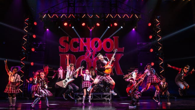"The cast of the touring production of ""School of Rock,"" running through March 4 at the Aronoff Center as part of the Broadway in Cincinnati series."
