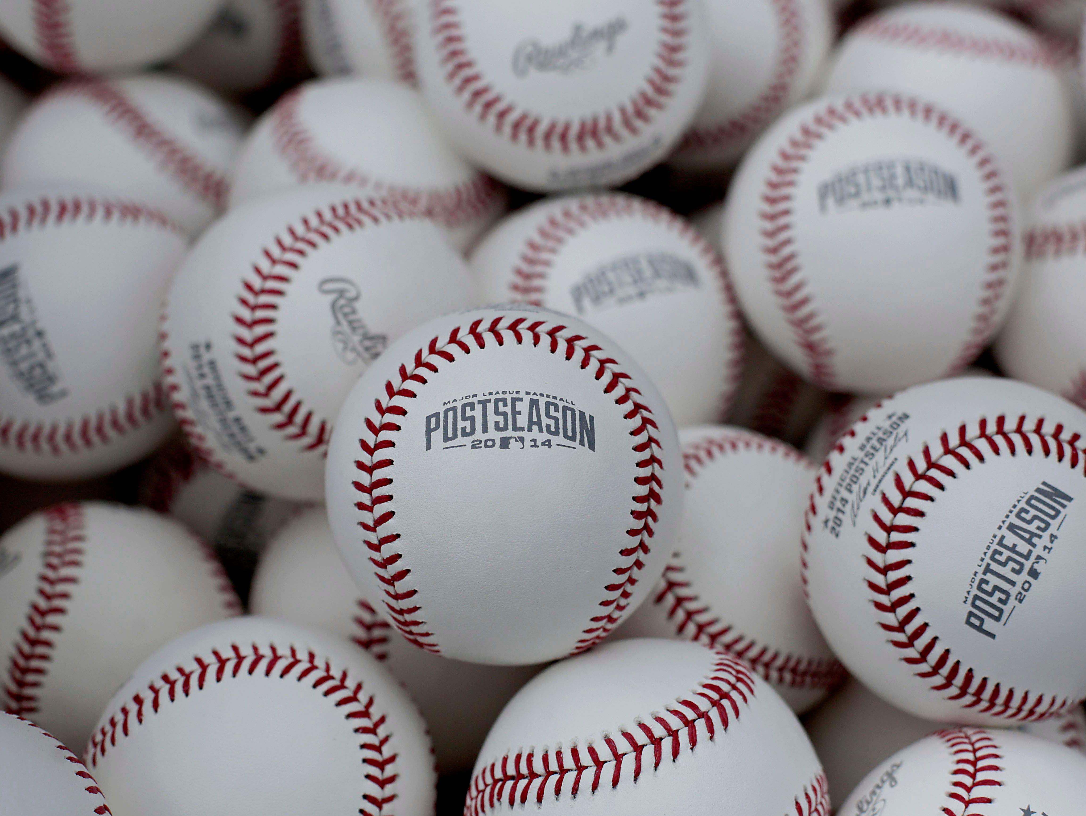 MLB postseason baseballs.