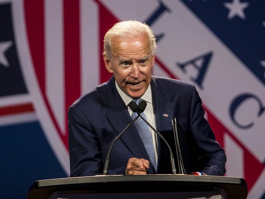 Former Vice President Joe Biden speaks during the League