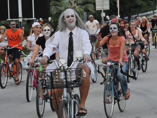 Key West stages its eye-popping Fantasy Fest each October. This costume-and-mask festival includes a parade down Duval Street, and the Zombie Ride (pictured here).