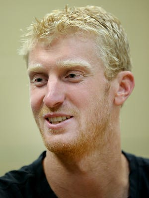 New Indiana Pacers Chase Budinger talks to members of the mediaTuesday afternoon at Bankers Life Fieldhouse.
