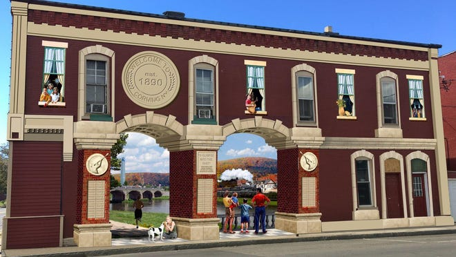 This is an artist rendition of what a new mural will look like on the outside wall of Brick House Brewery in Corning.