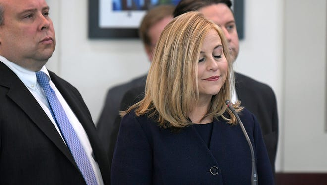 Nashville Mayor Megan Barry closes her eyes while listening to the charges to theft of property over $10,000 related to her affair with former police bodyguard Sgt. Rob Forrest at the Justice A. A. Birch Building in Nashville, Tenn. on Tuesday, March 6, 2018.