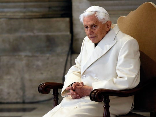 Pope Emeritus Benedict XVI attends a Mass prior to