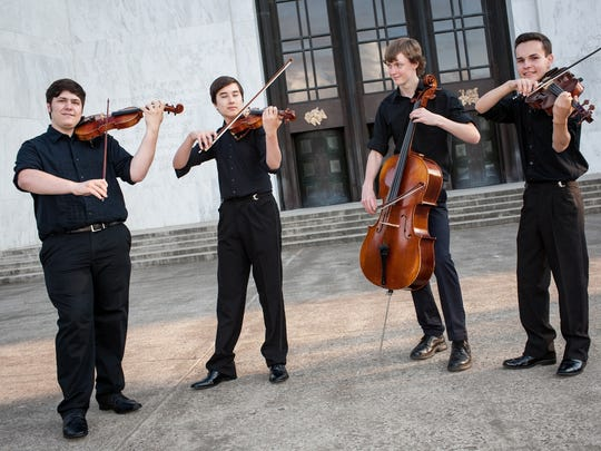 "Etherius String Quartet members Joseph Miletta, from left, Nicholas Silver, Hendrik Mobley and Damon Zavala will perform in ""In My Life — A Musical Theatre Tribute to the Beatles"" on Oct. 24 at the Historic Elsinore Theatre."