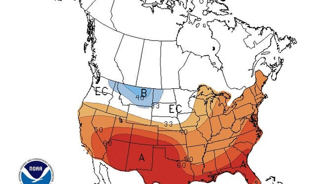 NWS Climate Prediction Center three-month outlook