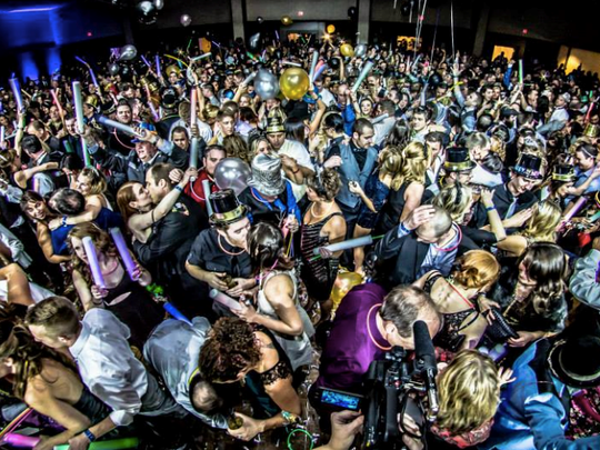 At the Champagne Ball in Portland, you can ring in the New Year with 17 bars, three dance floors, four party rooms, chill lounge, party favors, music by Hit Machine, DJ OSO Fresh, DJ Paradox and DJ RPM, a champagne toast and a variety of food.