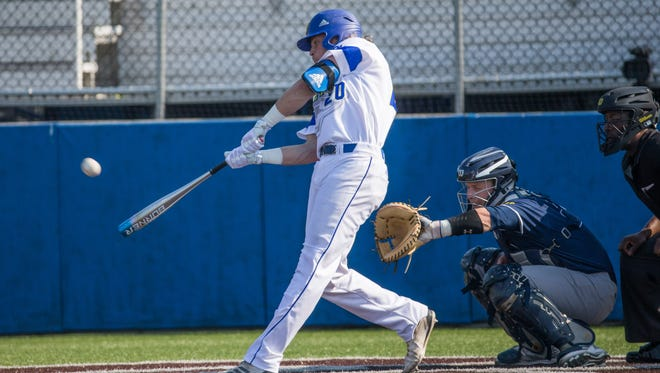 Delaware cleanup hitter Nick Patten launches a two-run home run in a regular-season game.