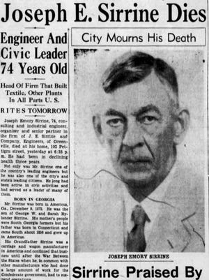 The front page of The Greenville News on Aug. 8, 1947.