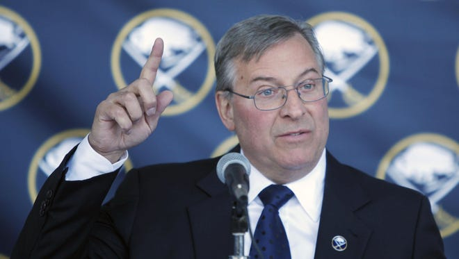 Buffalo Sabres owner Terry Pegula  speaks during a news conference announcing the new ownership of the NHL hockey team.