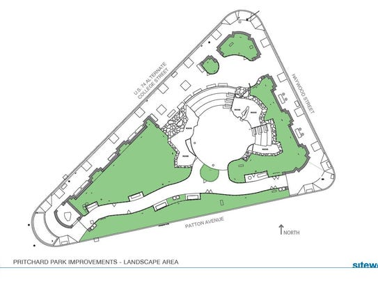 An illustration of the planned landscape area at Pritchard