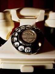 A Bakelite telephone at the 100 Years of Plastic exhibit