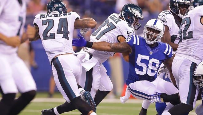 Indianapolis Colts outside linebacker Trent Cole (58) was placed on injured reserve Tuesday.
