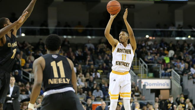 Northern Kentucky Norse guard Mason Faulkner (11) rises for a 3-point shot in the first half during the NCAA college basketball game between Oakland Golden Grizzlies and the Northern Kentucky Norse, Friday, Jan. 26, 2018, at BB&T Arena in Highland Heights, Kentucky.
