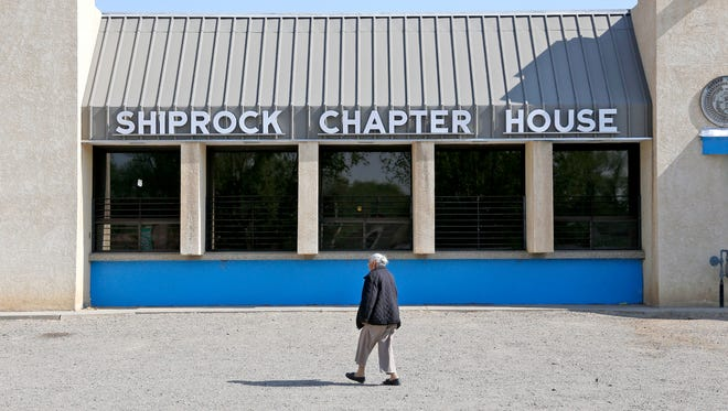 A voter walks into the Shiprock Chapter house in this April 2015 photo. The chapter is asking the Office of the Auditor General to remove sanctions against its budget.