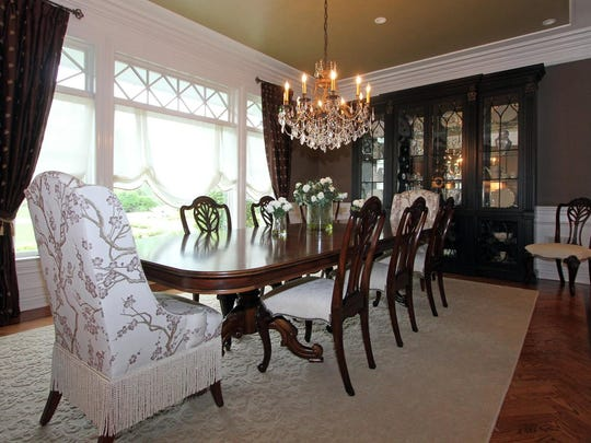The dining room is formal, yet traditional.