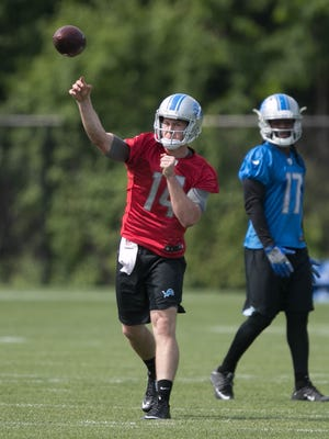 Lions quarterback Jake Rudock goes through drills during OTAs on Wednesday, May 24, 2017 at the Allen Park practice facility.