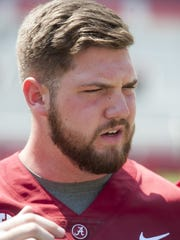 Alabama offensive lineman Jonah Williams (73) before fan day in Tuscaloosa, Ala. on Saturday August 5, 2017.